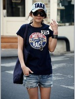 2012 ladies' summer  t-shirt short sleeve tops women's t shirt korean casual black printed cotton free shipping