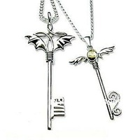 2014 Sale For Pingente Coupon Floating Locket Free Shipping Wholesale 925 Devil Angel Rhinestone Pendant Necklace Lovers Q8501