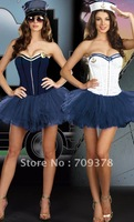Free shipping 2012 Reversible Officer to Sailor Costume Women sexy corset costume Wholesale 10pcs/lot Fancy dress Cosply 7496