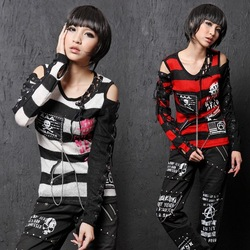 71188 PUNK Rock GOTHIC Sexy Nana STRIPED Sweater Top Knit SHIRT(China (Mainland))