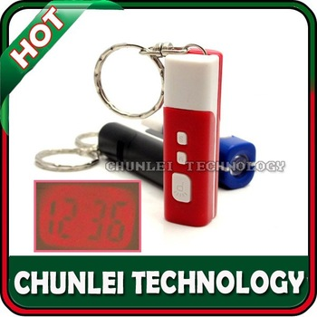 Free shipping! 3 colour,Mini LCD Projection TIME Clock Digital Keychain