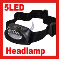 Free shipping Head light 5 LED white Hiking Head Lamp water proof Flash Light Super Bright