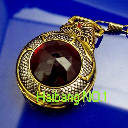 Free Shipping! Wholesale! Men's&Women's Antique Golden Dragon Red Gem Stone design Necklace Quartz Vintage Pocket Watches(China (Mainland))