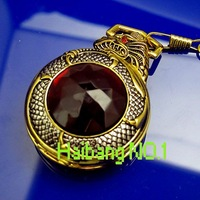 Free Shipping! Wholesale! Men's&Women's Antique Golden Dragon Red Gem Stone design Necklace Quartz Vintage Pocket Watches