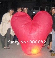 100 PCS -- Free shipping Wholesale 3D heart Sky lanterns Wishing lamp light sky Chinese lanterns