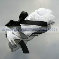 Free Shipping Retail Special Wedding Party Stuff Supplies Accessory Organza Sexy Bridal Garters with Black Bow for Wedding