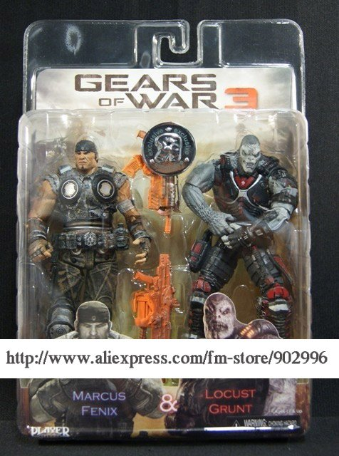 Neca Gears of War 3 Marcus Fenix & Locust Grunt 7'/20cm Figure Set Toysrus Exclusive(China (Mainland))