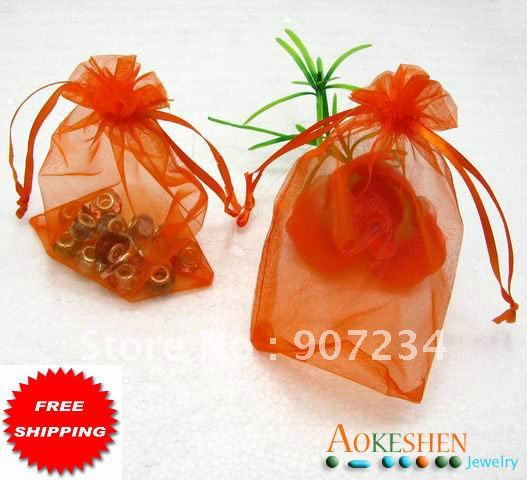 ... free 100pcs Orange Pure Organza Wedding Gift Favour/Jewelery/gift