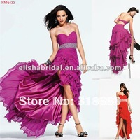 2012 Sweetheart Beaded Front Short Long Back Chiffon Prom Dress
