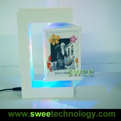 R-Cool Electronic Wireless Power Magnetic Levitation White Color Floating Photo Frame LED Light magic gift/novel light(China (Mainland))