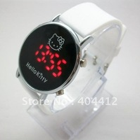 Hello Kitty Lady Girl LED Wrist Watch red led light Silicone watchband watches Free shipping