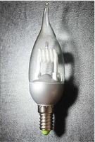 15pcs transparent tip candle energy saving lamp/clear CFL/ candle with tail/ tailed candle lamp