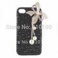 Чехол для для мобильных телефонов Bling Black-White Pearl Case Crystal BIG butterfly Cover for Iphone 4 4S A120