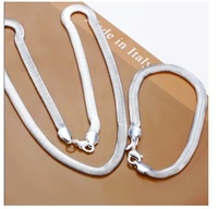 Free shipping wholesale 925 Silver Necklace/Bracelet set snake chain set Best for Xmas gift