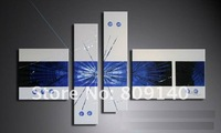 free shipping new plain blue & white modern decorative abstract oil painting canvas hand paint home office hotel wall art decor