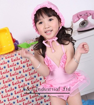 Wholesale - Girls Flower Swimwear Pink Hat + Kids Swim Suit Baby Girl Swimming Sets Bathing Costumes Mix Designs