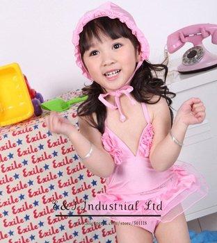 Wholesale - Girls Flower Swimwear Pink Hat + Kids Swim Suit Baby Girl Swimming Sets Bathing Costumes Mix Designs