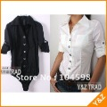 free shipping XL white lady's blouses hot sale fashion OL body blouses wholesale cheap black blouses new designer t-shirts LT19