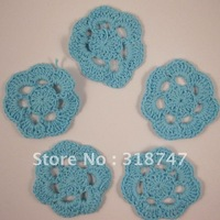 Free shipping Wholesale Handmade cotton 4.5cm blue color crochet flower(12pcs/Lot)
