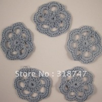 Free shipping Wholesale Handmade cotton 4.5cm blue ashea crochet flower(12pcs/Lot)