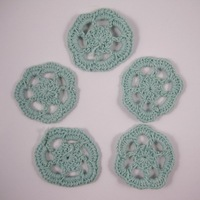 Free shipping Wholesale Handmade cotton 4.5cm dark green crochet flower(12pcs/Lot)