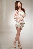 Hot! wholesale price 1pc/lot Fifth of the Korean lady Rose Glitter sleeve chiffon jacket