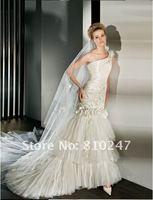 New Arrive Mermaid Silk Taffeta with Embroidery Flower Derocated Detachable Wedding Dress