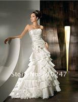 New Arrive A-line Appliques Chiffon and Satin Off the Shoulder Detachable Wedding Dress