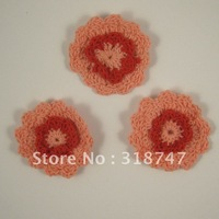Free shipping Wholesale Handmade cotton 4.5cm pink and red double color crochet flower(12pcs/Lot)