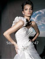 2013A+++New Arrive A-line Draped One Shoulder Taffeta with Beading Court Train Wedding Dress