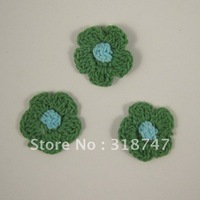 Free shipping Wholesale Handmade cotton 2.5cm green and blue double color crochet flower(12pcs/Lot)