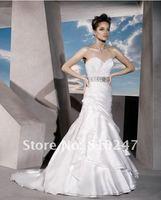 New Arrive A-line Tiered Taffeta Beading and Flowers Court Train Wedding Dress