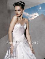2013A+++New Arrive A-line Taffeta Beading Court Train Wedding Dress