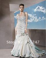 2013A+++New Arrive A-line Halter Taffeta with Flowers Court Train Wedding Dress