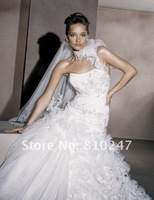 2013A+++New Arrive A-line One Shoulder Lace Chiffon with Beading Wedding Dress