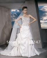 2013A+++New Arrive Sweetheart Beading A-line One Shoulder Satin Court Train Wedding Dress