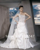 2013A+++New Arrive Sweetheart Beading A-line One Shoulder Satin Court Train Wedding Dress