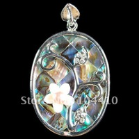Charms K-Gold Plated Copper Mother of Pearl Abalone Shell White Shell Gemstone Jewelry Pendants Bead Wholesale Free Ship