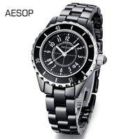 AESOP Fashion Couple Watch Ceramic Strap Sapphire Quartz scratchproof  Watches luxury pointer  9905