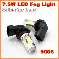 New 7.5W  Super Bright  9006  LED Fog Lamp with Collector Lens  Aluminum housing  LED Auto Lamp   free shipping  (01010705)