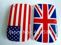 20pcs/lot,Wholesale Newest design Retro USA/UK Flag hard back cover skin case for Blackberry 8520,flag cases