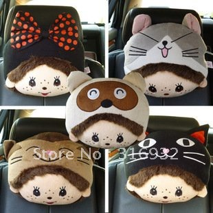 U1 wholesale cute cartoon Elfin head pillow car headrest auto neck pillow 1 PIECE, 20 style you can choose