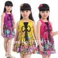 FREE SHIPPING 2012 New arrival 8pcs/lot Toddler Girls' Sleeveless Colorful Dress with bow Girls' Clothing  girls tops/ shirt