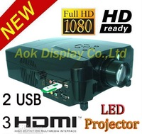 Move projector full hd 3D For Home theater LED Projector Support 1080P with 3*HDMI 2*USB support hard disk