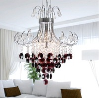 Modern crystal lighting fashionable crystal chandelier, wine red purplecrystal pendant lamp, crystal lighting G9/G4 bulbs