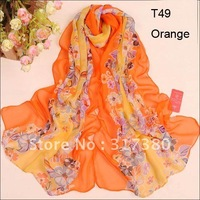 2013 Women Beautiful Romantic Floral Long Silk Feeling Scarves Fashion Desin Ladies Chiffon Shawls Stole Muffler Spring Summer