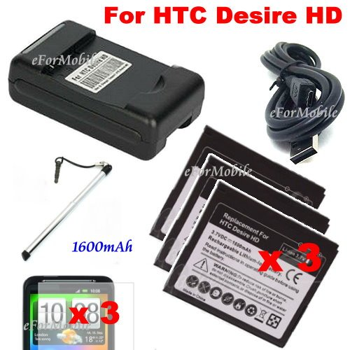 1600mAh Li-ion Battery Replacement Battery +Battery Charger+Screen Protector For HTC Desire HD A9191 (HTC Ace)(China (Mainland))