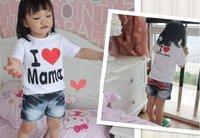 Free shipping toddler/baby tops/t-shirt,i love mama/papa mama love me,short sleeve,4 type,20pcs/lot