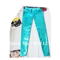 Delicate Imitation Leather Ordinary Waist Slim Skinny Matte Pantyhose Light Blue Color Fashionable Pants Leggings