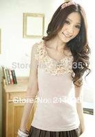 Hot Sale Women summer plus size CANDY 100%cotton  ladies Strander vest  ladies long T-shirtS DY G501